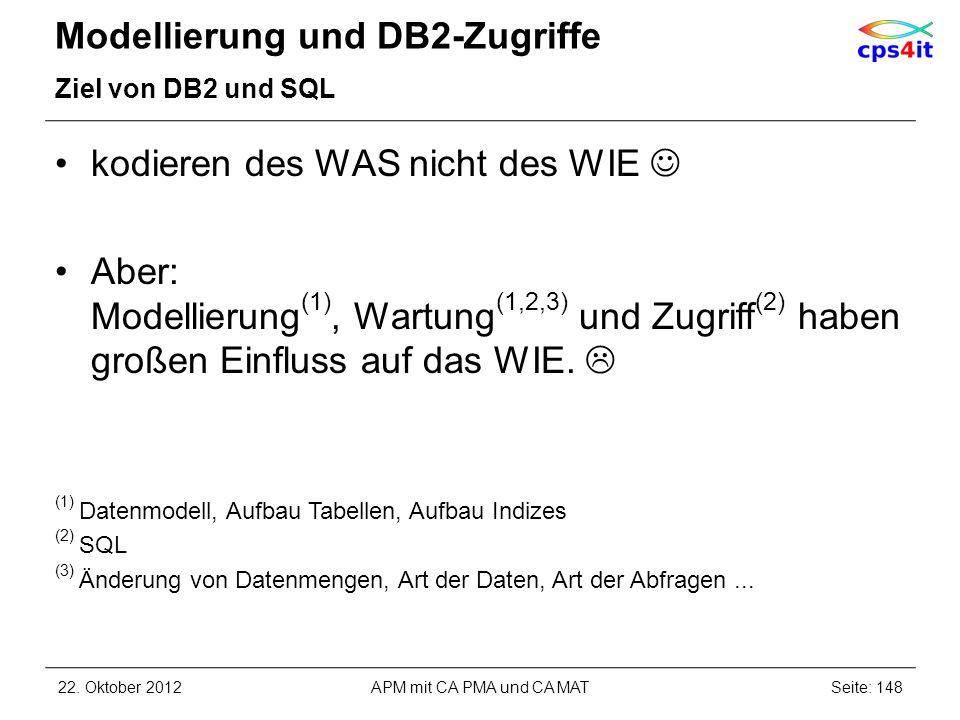 Modellierung und DB2-Zugriffe Ziel von DB2 und SQL kodieren des WAS nicht des WIE Aber: Modellierung (1), Wartung (1,2,3) und Zugriff (2) haben großen