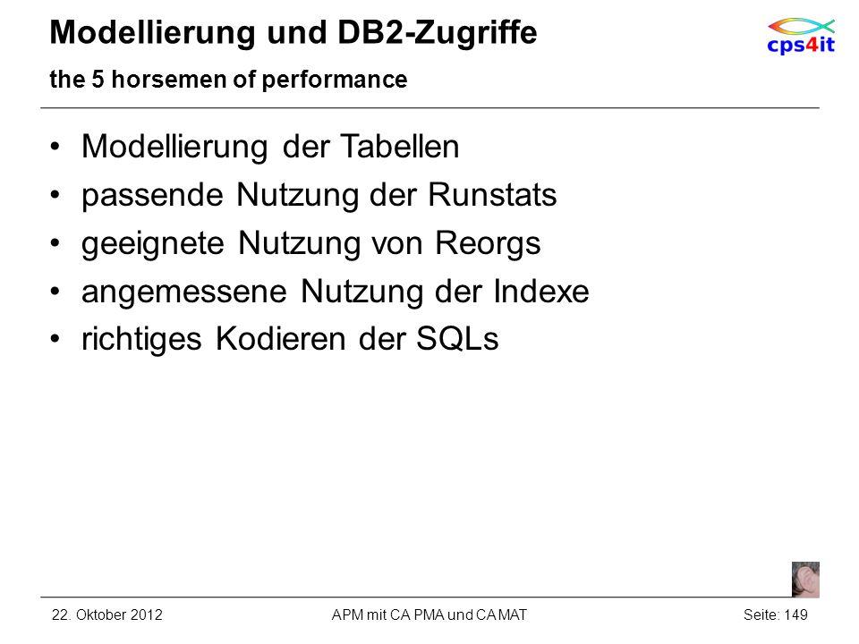Modellierung und DB2-Zugriffe the 5 horsemen of performance Modellierung der Tabellen passende Nutzung der Runstats geeignete Nutzung von Reorgs angem