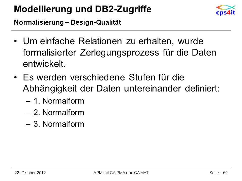Modellierung und DB2-Zugriffe Normalisierung – Design-Qualität Um einfache Relationen zu erhalten, wurde formalisierter Zerlegungsprozess für die Date