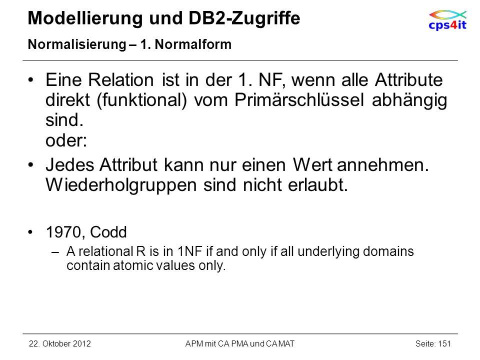 Modellierung und DB2-Zugriffe Normalisierung – 1. Normalform Eine Relation ist in der 1. NF, wenn alle Attribute direkt (funktional) vom Primärschlüss