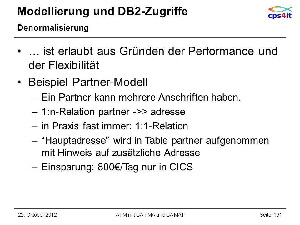 Modellierung und DB2-Zugriffe Denormalisierung … ist erlaubt aus Gründen der Performance und der Flexibilität Beispiel Partner-Modell –Ein Partner kan
