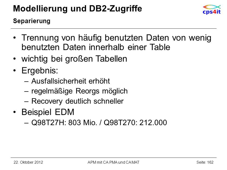 Modellierung und DB2-Zugriffe Separierung Trennung von häufig benutzten Daten von wenig benutzten Daten innerhalb einer Table wichtig bei großen Tabel