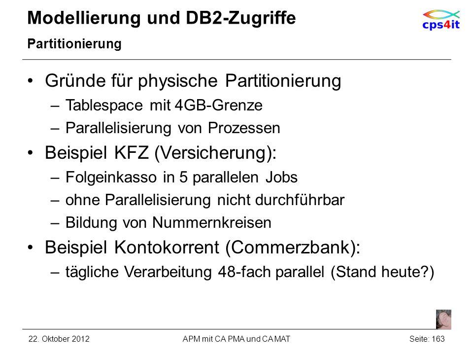 Modellierung und DB2-Zugriffe Partitionierung Gründe für physische Partitionierung –Tablespace mit 4GB-Grenze –Parallelisierung von Prozessen Beispiel