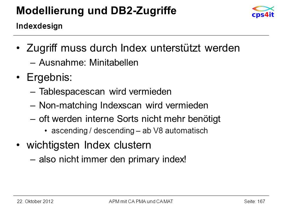 Modellierung und DB2-Zugriffe Indexdesign Zugriff muss durch Index unterstützt werden –Ausnahme: Minitabellen Ergebnis: –Tablespacescan wird vermieden