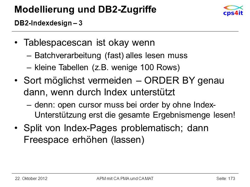 Modellierung und DB2-Zugriffe DB2-Indexdesign – 3 Tablespacescan ist okay wenn –Batchverarbeitung (fast) alles lesen muss –kleine Tabellen (z.B. wenig