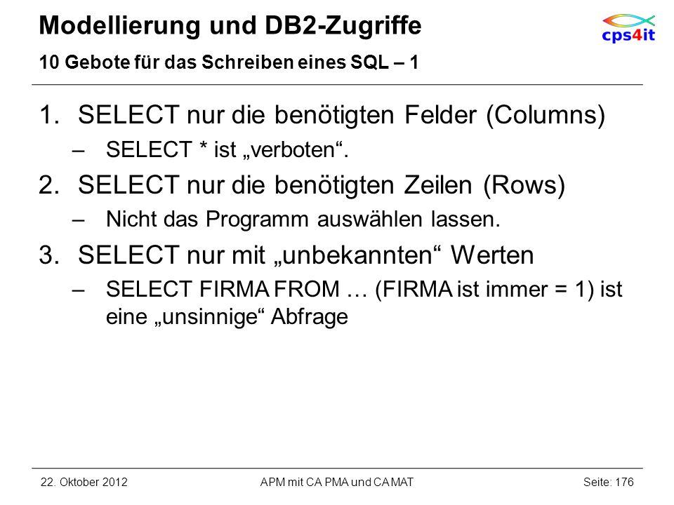 Modellierung und DB2-Zugriffe 10 Gebote für das Schreiben eines SQL – 1 1.SELECT nur die benötigten Felder (Columns) –SELECT * ist verboten. 2.SELECT