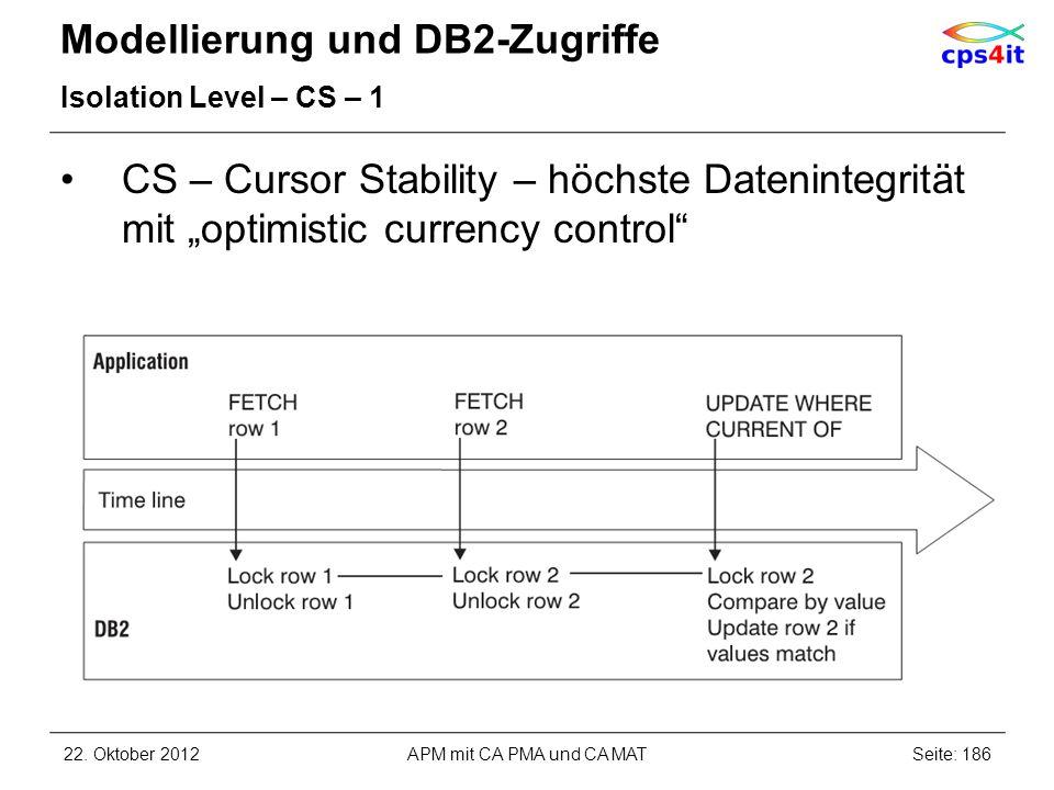 Modellierung und DB2-Zugriffe Isolation Level – CS – 1 CS – Cursor Stability – höchste Datenintegrität mit optimistic currency control 22. Oktober 201
