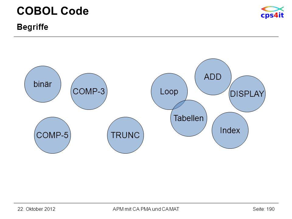 COBOL Code Begriffe 22. Oktober 2012Seite: 190APM mit CA PMA und CA MAT TRUNC Index DISPLAY COMP-5 Loop ADD binär Tabellen COMP-3