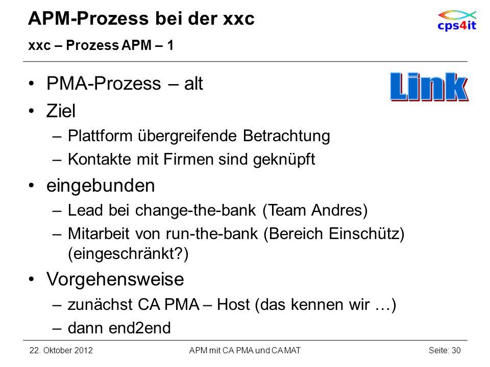 APM-Prozess bei der xxc xxc – Prozess APM – 1 PMA-Prozess – alt Ziel –Plattform übergreifende Betrachtung –Kontakte mit Firmen sind geknüpft eingebund