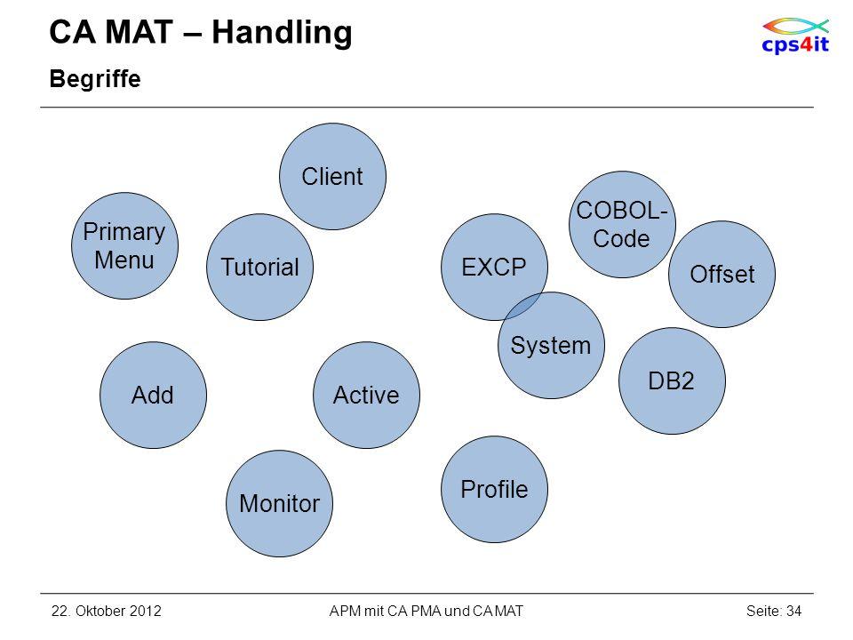 CA MAT – Handling Begriffe 22. Oktober 2012Seite: 34APM mit CA PMA und CA MAT Active DB2 Offset Add EXCP COBOL- Code Primary Menu System Tutorial Clie