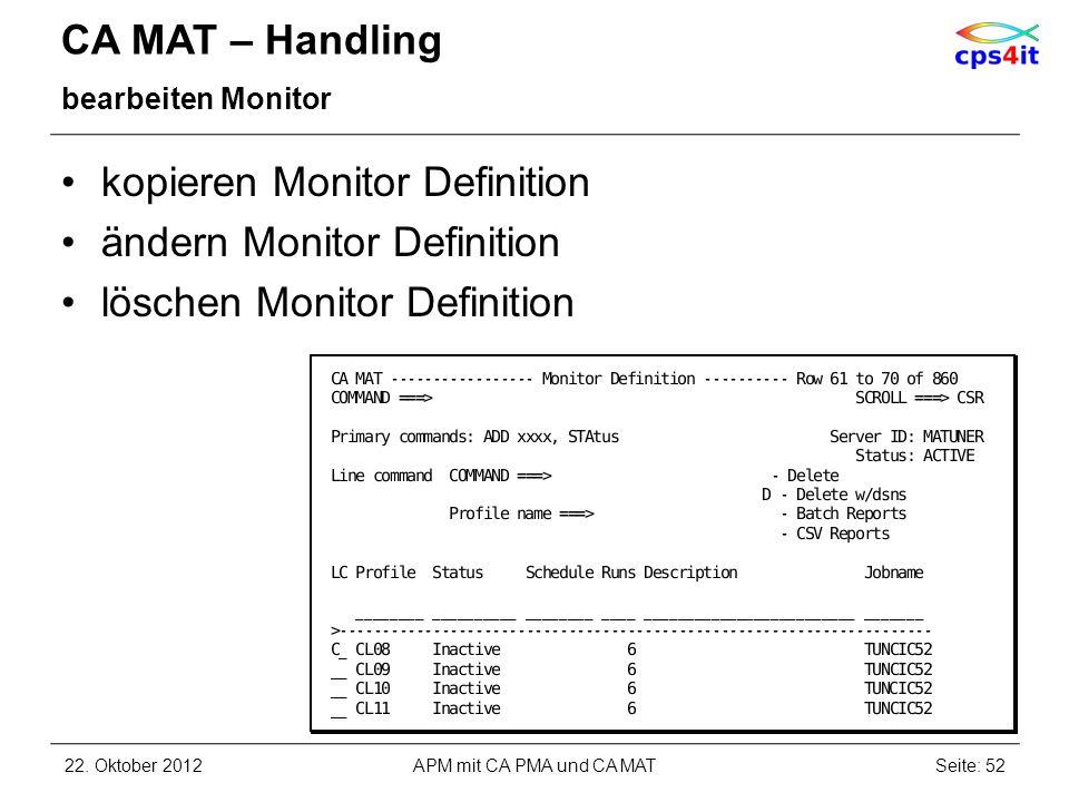 CA MAT – Handling bearbeiten Monitor kopieren Monitor Definition ändern Monitor Definition löschen Monitor Definition 22. Oktober 2012APM mit CA PMA u