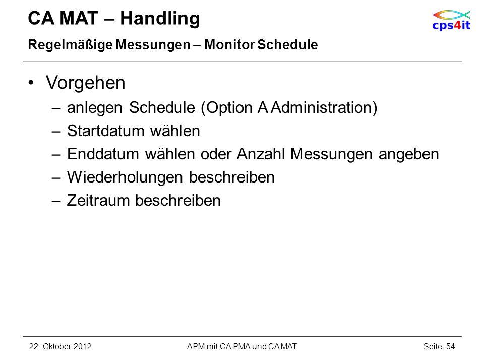CA MAT – Handling Regelmäßige Messungen – Monitor Schedule Vorgehen –anlegen Schedule (Option A Administration) –Startdatum wählen –Enddatum wählen od