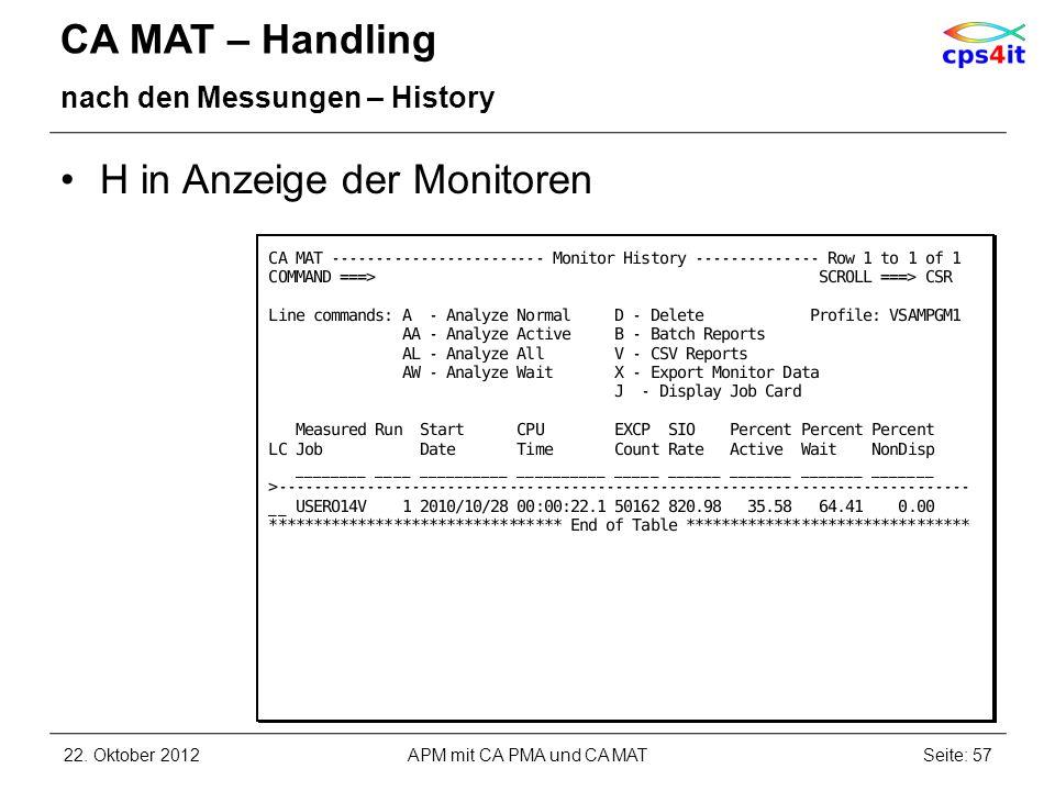 CA MAT – Handling nach den Messungen – History H in Anzeige der Monitoren 22. Oktober 2012APM mit CA PMA und CA MATSeite: 57