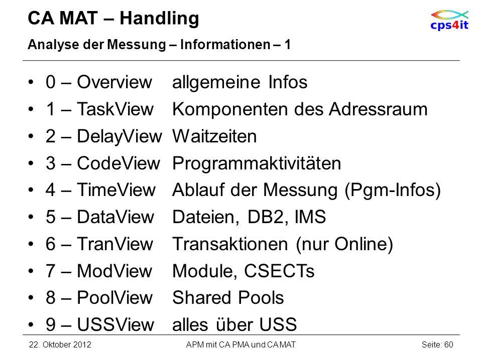 CA MAT – Handling Analyse der Messung – Informationen – 1 0 – Overviewallgemeine Infos 1 – TaskView Komponenten des Adressraum 2 – DelayViewWaitzeiten