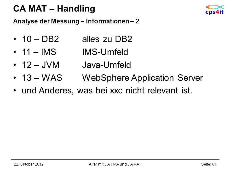 CA MAT – Handling Analyse der Messung – Informationen – 2 10 – DB2alles zu DB2 11 – IMSIMS-Umfeld 12 – JVMJava-Umfeld 13 – WASWebSphere Application Se