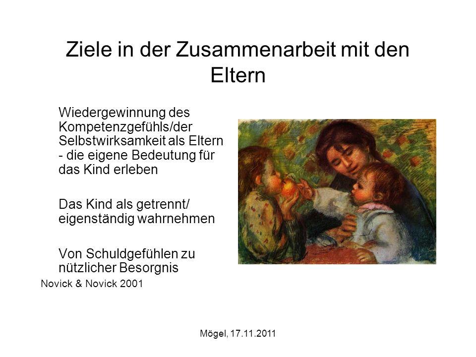 Mögel, 17.11.2011 Ziele in der Zusammenarbeit mit den Eltern Wiedergewinnung des Kompetenzgefühls/der Selbstwirksamkeit als Eltern - die eigene Bedeut
