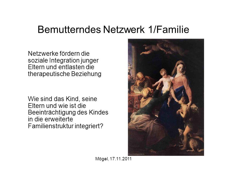 Mögel, 17.11.2011 Bemutterndes Netzwerk 1/Familie Netzwerke fördern die soziale Integration junger Eltern und entlasten die therapeutische Beziehung W