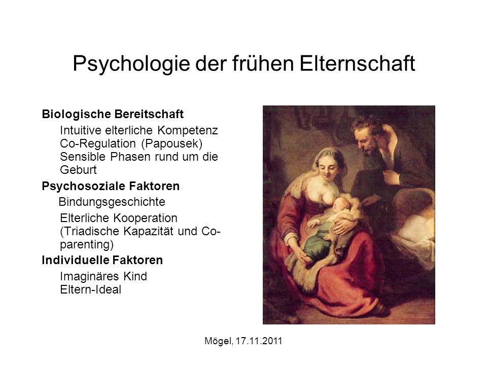 Mögel, 17.11.2011 Psychologie der frühen Elternschaft Biologische Bereitschaft Intuitive elterliche Kompetenz Co-Regulation (Papousek) Sensible Phasen