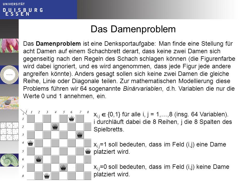Das Damenproblem Das Damenproblem ist eine Denksportaufgabe: Man finde eine Stellung für acht Damen auf einem Schachbrett derart, dass keine zwei Dame