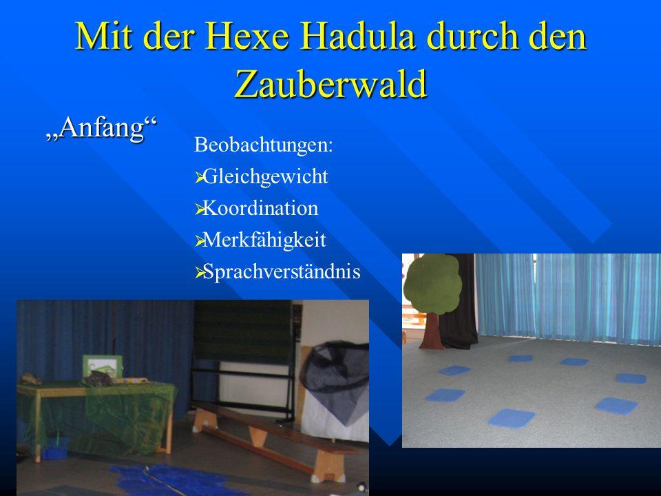 Mit der Hexe Hadula durch den Zauberwald Räuber Beobachtungen: Auge – Hand – Koordination Merkfähigkeit Feinmotorik