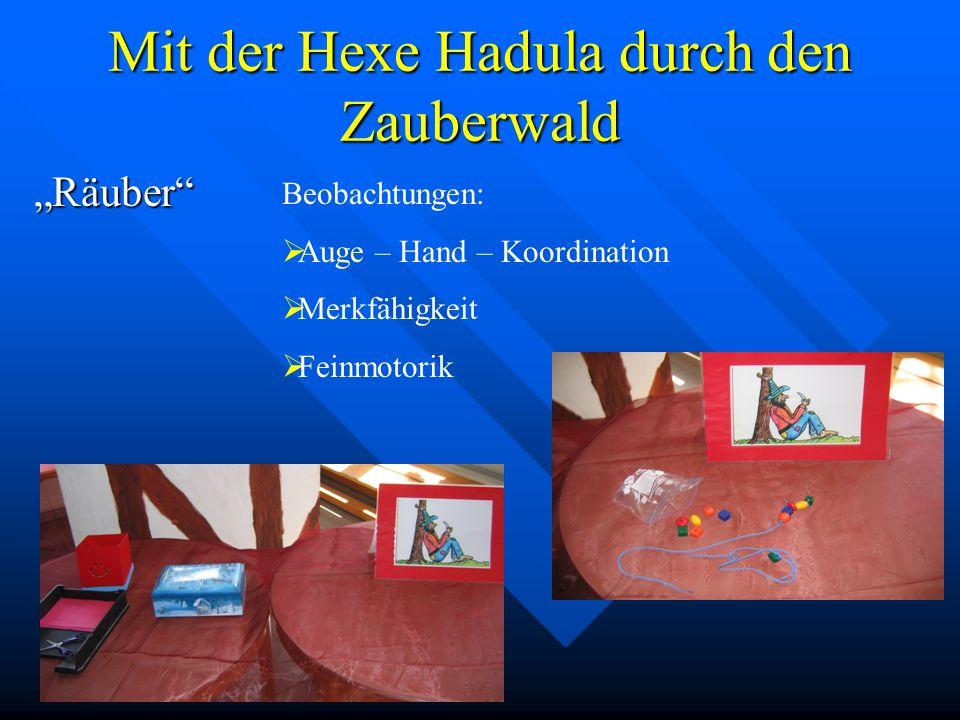 Mit der Hexe Hadula durch den Zauberwald Zauberer Beobachtungen: Würfelbilder Gleichgewicht Auge-Hand-Koordination