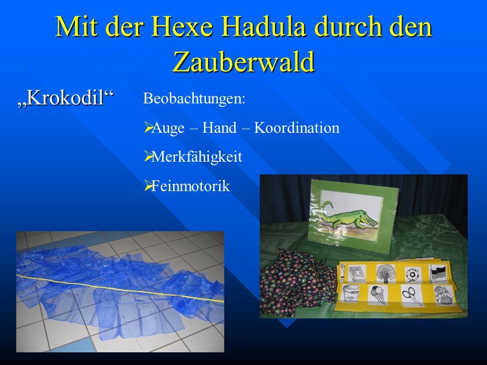 Mit der Hexe Hadula durch den Zauberwald Krokodil Beobachtungen: Auge – Hand – Koordination Merkfähigkeit Feinmotorik