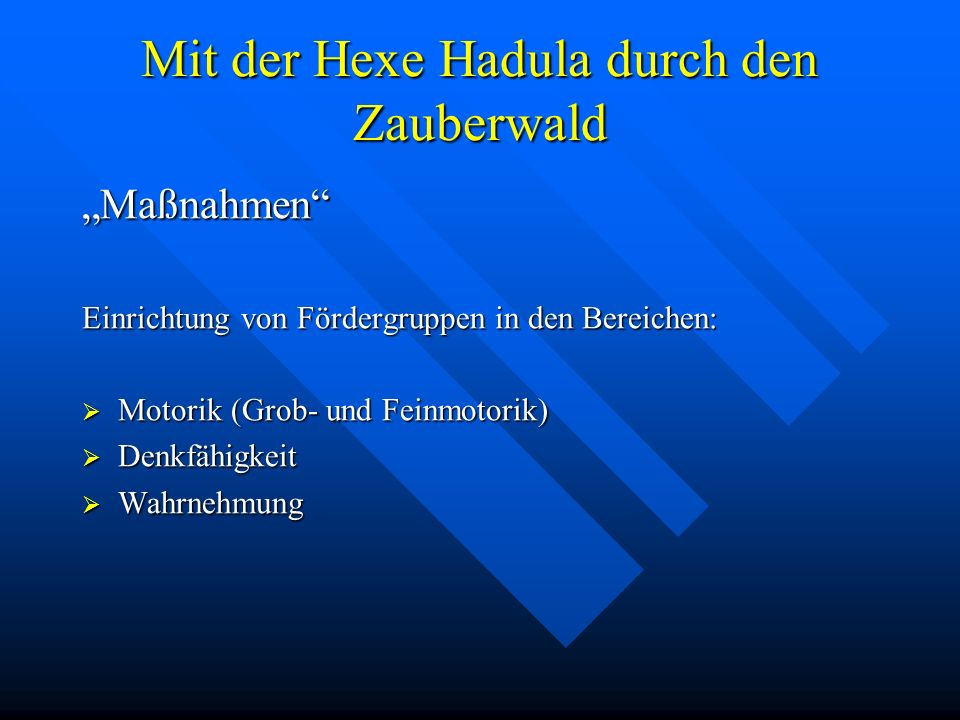 Mit der Hexe Hadula durch den Zauberwald Maßnahmen Einrichtung von Fördergruppen in den Bereichen: Motorik (Grob- und Feinmotorik) Motorik (Grob- und