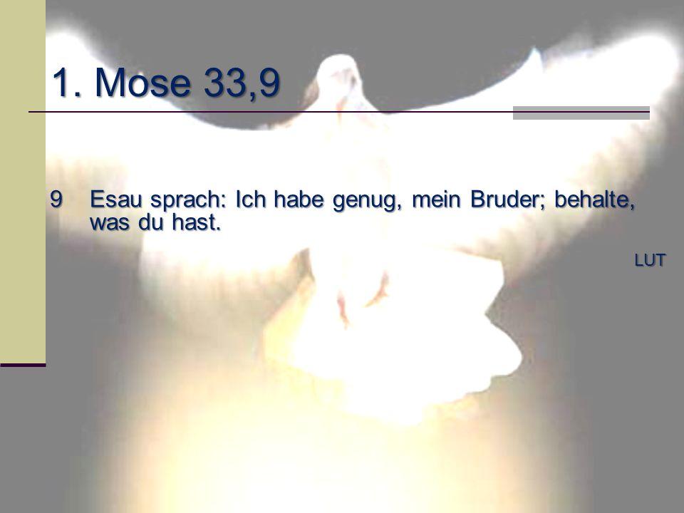 1. Mose 33,9 9Esau sprach: Ich habe genug, mein Bruder; behalte, was du hast. LUT