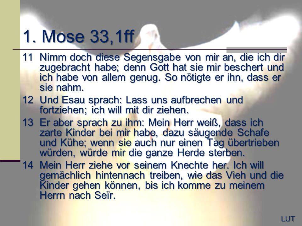 1. Mose 33,1ff 11Nimm doch diese Segensgabe von mir an, die ich dir zugebracht habe; denn Gott hat sie mir beschert und ich habe von allem genug. So n