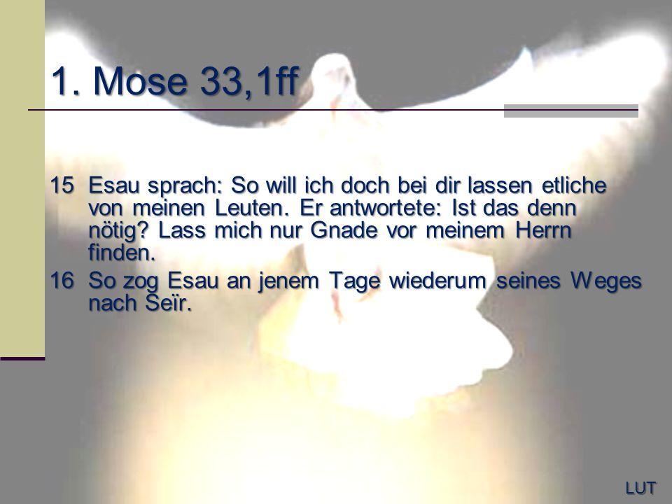 1. Mose 33,1ff 15Esau sprach: So will ich doch bei dir lassen etliche von meinen Leuten. Er antwortete: Ist das denn nötig? Lass mich nur Gnade vor me