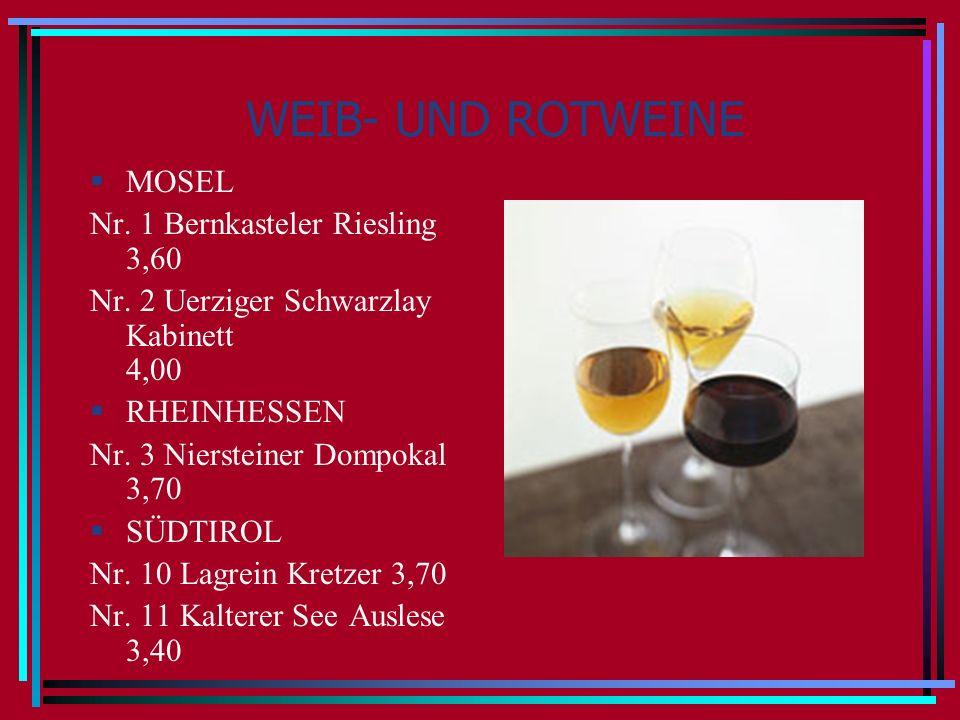 WEIB- UND ROTWEINE MOSEL Nr. 1 Bernkasteler Riesling 3,60 Nr. 2 Uerziger Schwarzlay Kabinett 4,00 RHEINHESSEN Nr. 3 Niersteiner Dompokal 3,70 SÜDTIROL