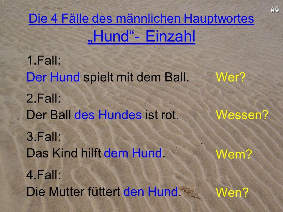Die 4 Fälle des männlichen Hauptwortes Hund- Einzahl 1.Fall: Der Hund spielt mit dem Ball.