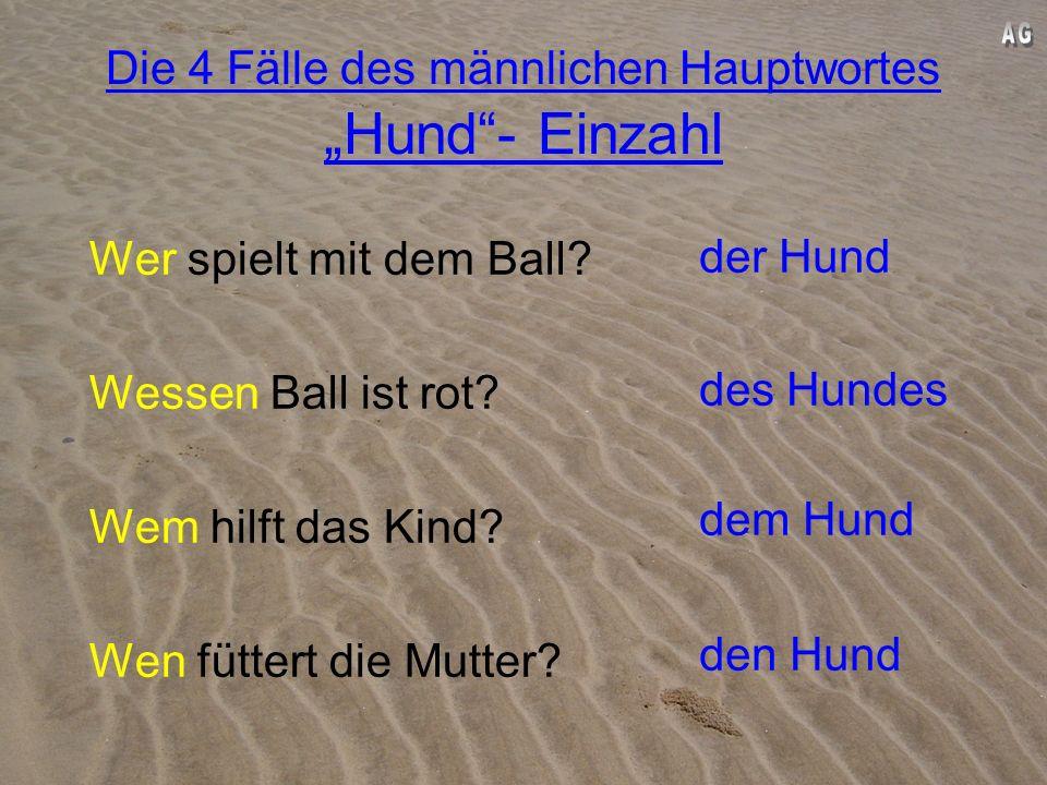 Die 4 Fälle des männlichen Hauptwortes Hund- Einzahl 1.Fall: Der Hund spielt mit dem Ball. 2.Fall: Der Ball des Hundes ist rot. 3.Fall: Das Kind hilft