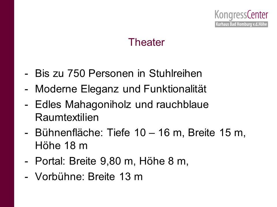 -Bis zu 750 Personen in Stuhlreihen -Moderne Eleganz und Funktionalität -Edles Mahagoniholz und rauchblaue Raumtextilien -Bühnenfläche: Tiefe 10 – 16 m, Breite 15 m, Höhe 18 m -Portal: Breite 9,80 m, Höhe 8 m, -Vorbühne: Breite 13 m Theater