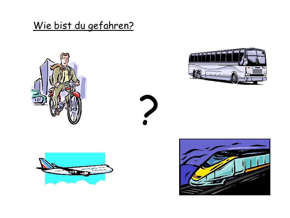 1.mit dem Schiff 2.mit dem Rad 3.mit dem Bus 4.mit dem Auto 5.mit dem Zug 6.mit dem Flugzeug 7.mit der Straßenbahn 8.mit der U-Bahn 9.zu Fuß a b c d e f g h i Do you know any already – Match numbers to letters.