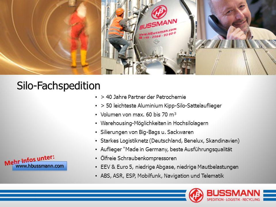 Silo-Fachspedition > 40 Jahre Partner der Petrochemie > 50 leichteste Aluminium Kipp-Silo-Sattelauflieger Volumen von max. 60 bis 70 m³ Warehousing-Mö