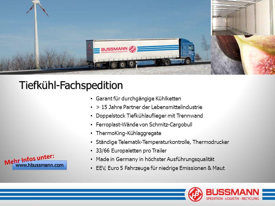 Tiefkühl-Fachspedition Garant für durchgängige Kühlketten > 15 Jahre Partner der Lebensmittelindustrie Doppelstock Tiefkühlauflieger mit Trennwand Fer