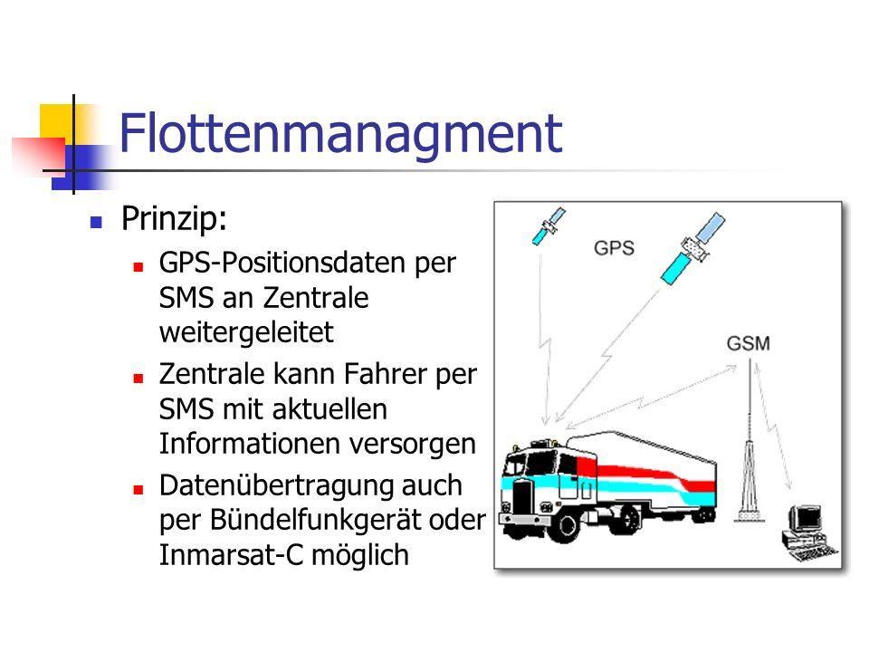 Flottenmanagment Prinzip: GPS-Positionsdaten per SMS an Zentrale weitergeleitet Zentrale kann Fahrer per SMS mit aktuellen Informationen versorgen Datenübertragung auch per Bündelfunkgerät oder Inmarsat-C möglich