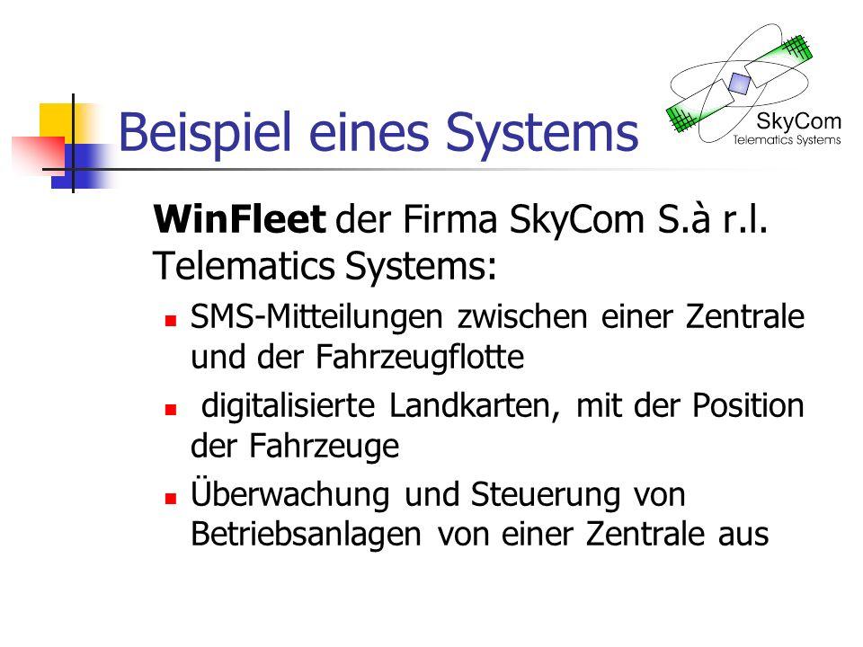 Beispiel eines Systems WinFleet der Firma SkyCom S.à r.l. Telematics Systems: SMS-Mitteilungen zwischen einer Zentrale und der Fahrzeugflotte digitali