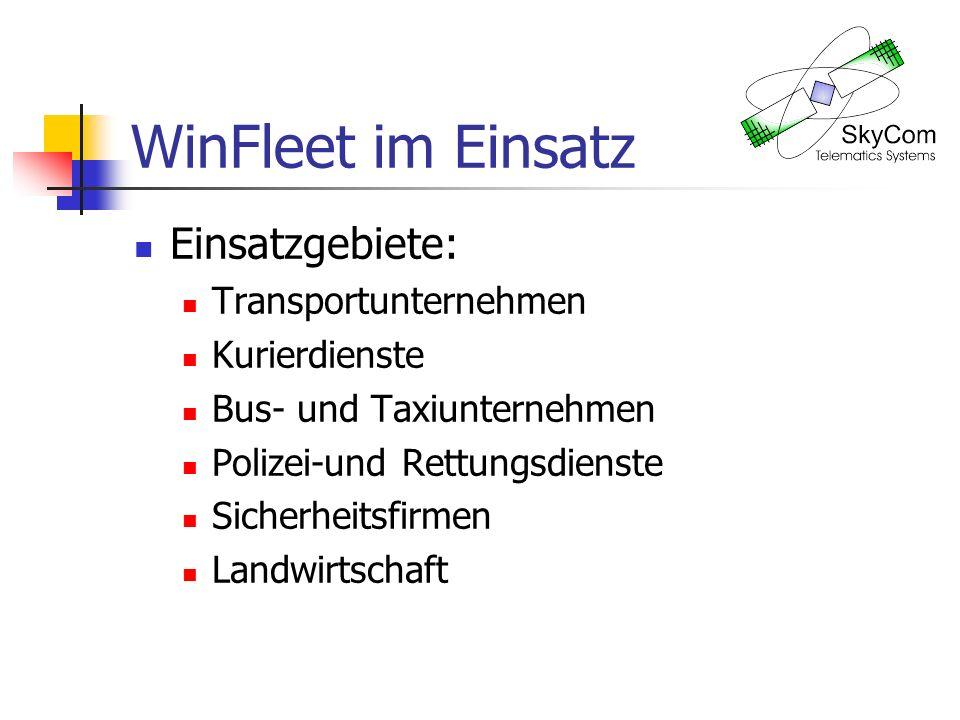 WinFleet im Einsatz Einsatzgebiete: Transportunternehmen Kurierdienste Bus- und Taxiunternehmen Polizei-und Rettungsdienste Sicherheitsfirmen Landwirtschaft
