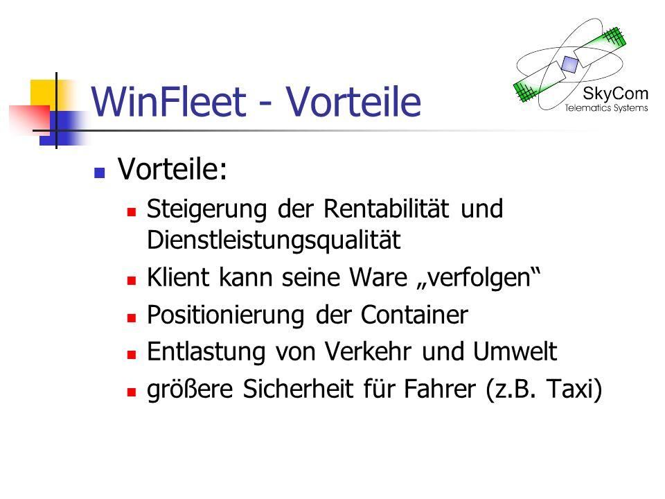 WinFleet - Vorteile Vorteile: Steigerung der Rentabilität und Dienstleistungsqualität Klient kann seine Ware verfolgen Positionierung der Container Entlastung von Verkehr und Umwelt größere Sicherheit für Fahrer (z.B.