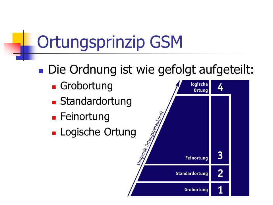 Ortungsprinzip GSM Die Ordnung ist wie gefolgt aufgeteilt: Grobortung Standardortung Feinortung Logische Ortung