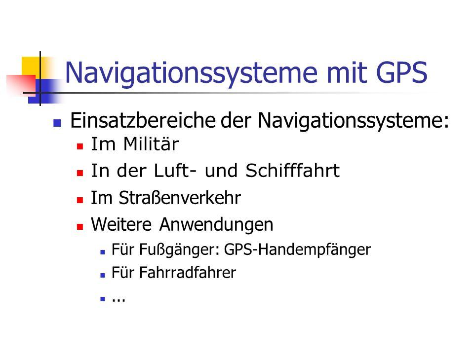 Navigationssysteme mit GPS Einsatzbereiche der Navigationssysteme: Im Militär In der Luft- und Schifffahrt Im Straßenverkehr Weitere Anwendungen Für F