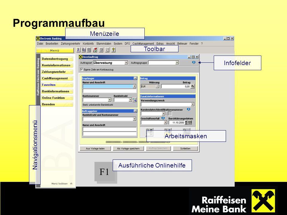 Navigationsmenü Menüzeile Arbeitsmasken Infofelder F1 Ausführliche Onlinehilfe Toolbar Programmaufbau