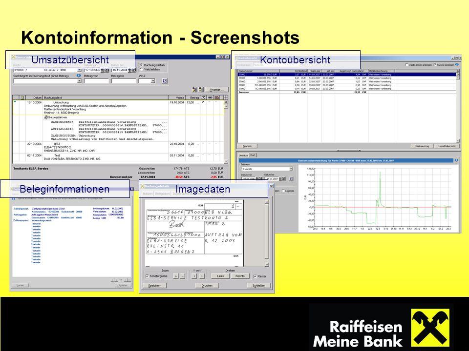 Kontoinformation - Screenshots Umsatzübersicht Beleginformationen Kontoübersicht Imagedaten