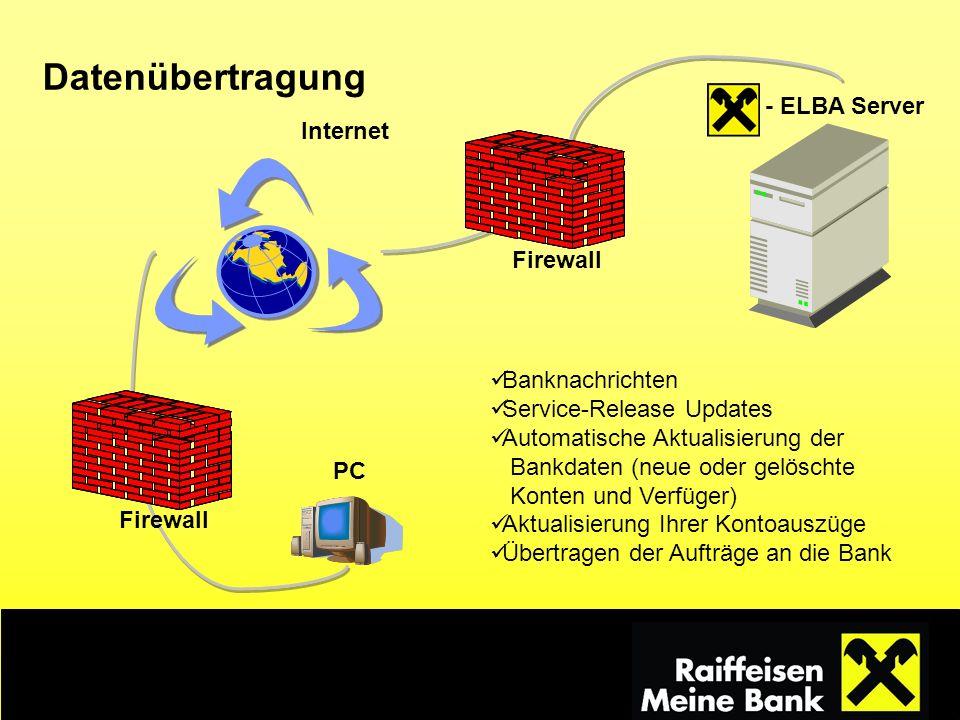 - ELBA Server PC Internet Datenübertragung Banknachrichten Service-Release Updates Automatische Aktualisierung der Bankdaten (neue oder gelöschte Kont