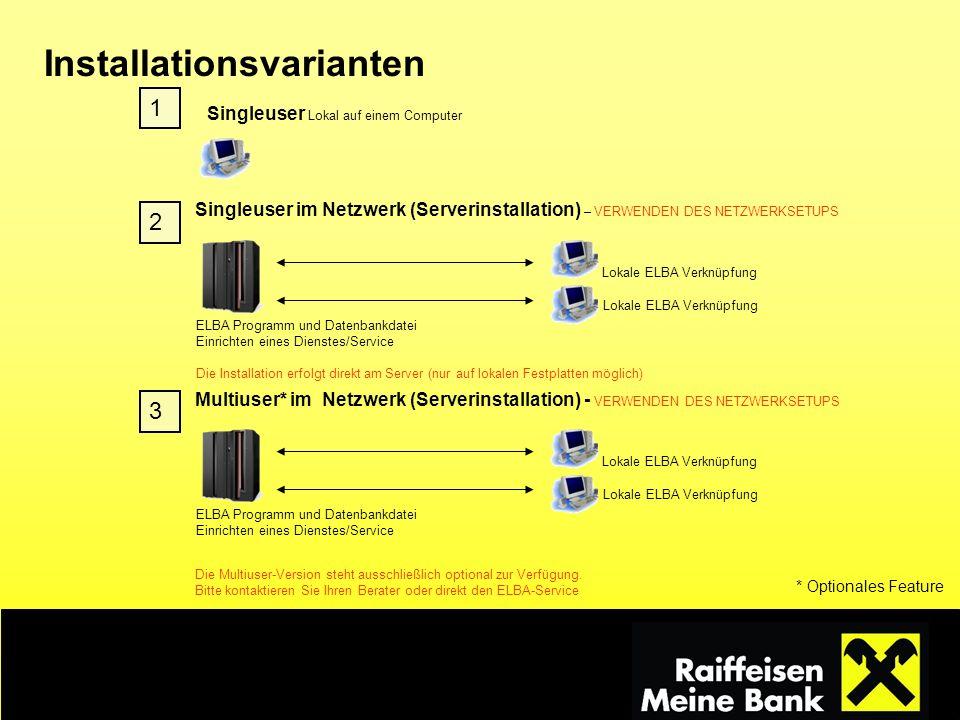 Singleuser Lokal auf einem Computer 1 Singleuser im Netzwerk (Serverinstallation) – VERWENDEN DES NETZWERKSETUPS Lokale ELBA Verknüpfung ELBA Programm