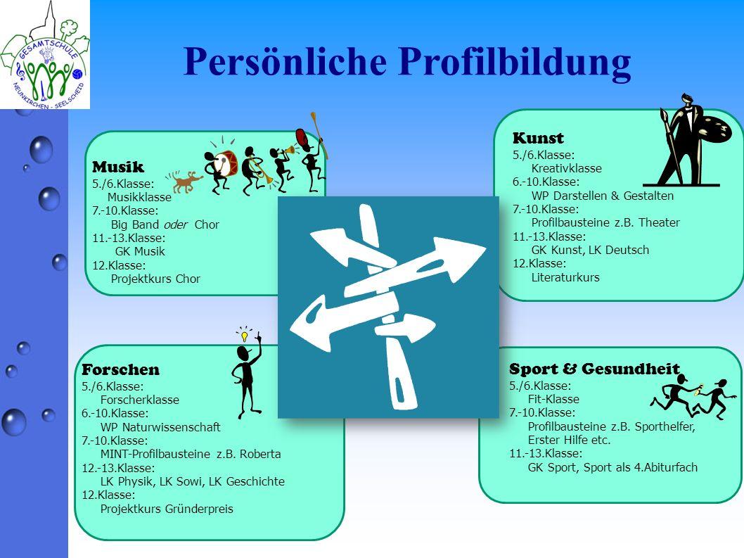 Persönliche Profilbildung Musik 5./6.Klasse: Musikklasse 7.-10.Klasse: Big Band oder Chor 11.-13.Klasse: GK Musik 12.Klasse: Projektkurs Chor Forschen