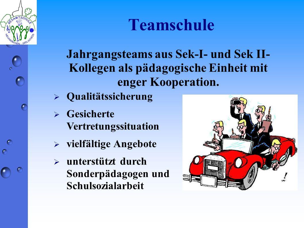 Teamschule Jahrgangsteams aus Sek-I- und Sek II- Kollegen als pädagogische Einheit mit enger Kooperation. Qualitätssicherung Gesicherte Vertretungssit