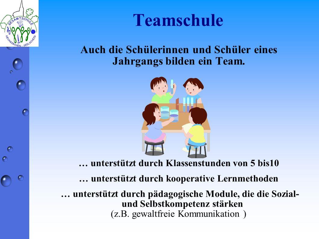 Teamschule Auch die Schülerinnen und Schüler eines Jahrgangs bilden ein Team. … unterstützt durch Klassenstunden von 5 bis10 … unterstützt durch koope
